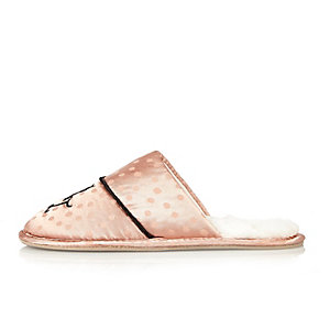 Pink monogram silky slippers