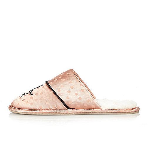 Pink monogram silky slippers