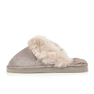 Purple suede faux fur trim mule slippers