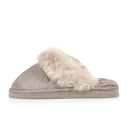 Purple suede faux fur trim mule slippers