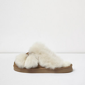 Brown real suede pom pom slipper