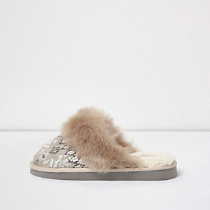 Brown sequin knit mule slippers