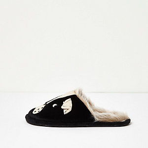 Black pug print mule slippers
