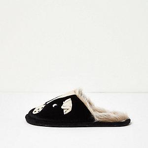 Schwarze Slipper mit Welpenmotiv