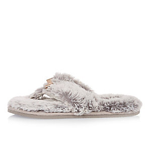 Grey faux fur bow flip flop slippers