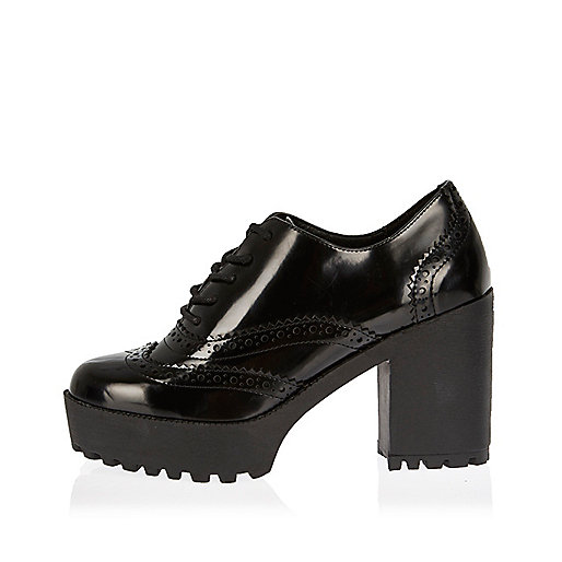 Black patent chunky heeled brogues