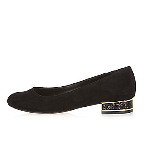 Black glitter heeled ballet pumps