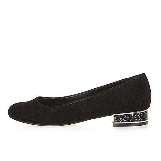 Black glitter heeled ballet shoes