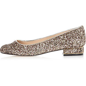 Gold glitter heeled ballet shoes