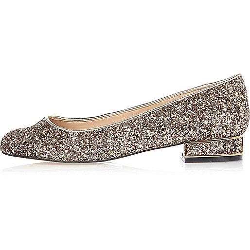 Gold glitter heeled ballet shoes