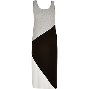 RI Plus grey color block maxi dress