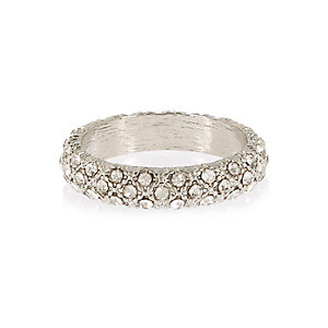 Silver tone encrusted ring