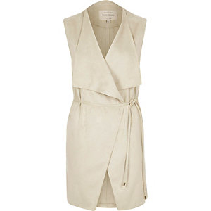 Cream faux suede sleeveless jacket