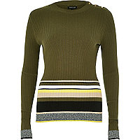 Khaki stripe button jumper