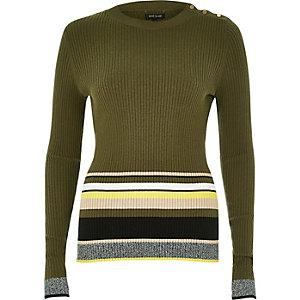 Khaki stripe button sweater