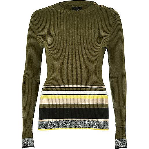Khaki stripe button jumper