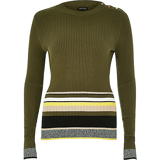 Khaki stripe button sweater