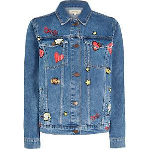 Mid blue wash comic print denim jacket