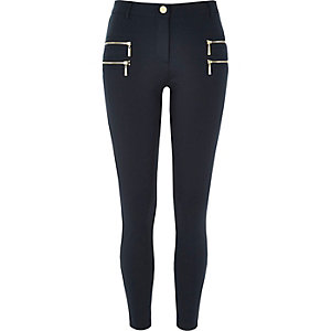 Navy zip detail super skinny trousers