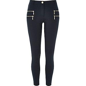 Navy zip detail super skinny pants