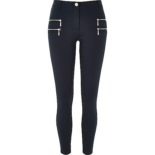 Marineblaue Super Skinny Hose mit Zierreißverschluss