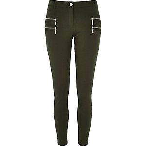 Khaki skinny trousers