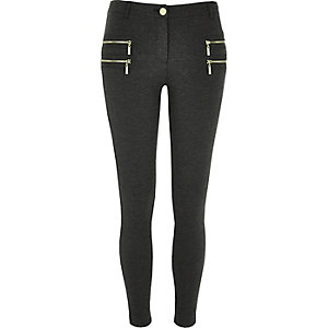 Grey zip detail super skinny pants
