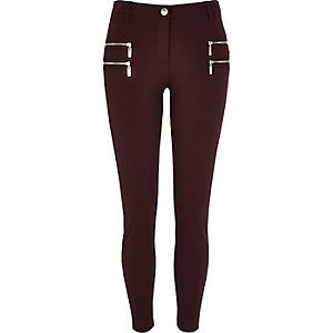 Dark red zip detail super skinny pants