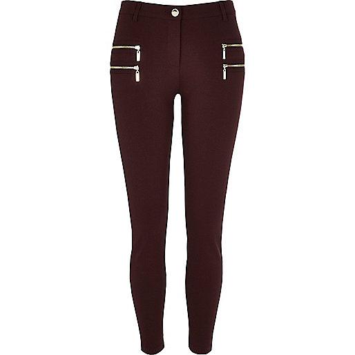 Dark red zip detail super skinny trousers