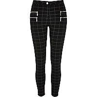 Pantalon super skinny à carreaux noir