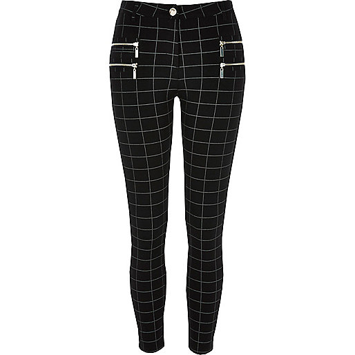 Black checked super skinny pants