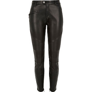 Black leather look biker trousers