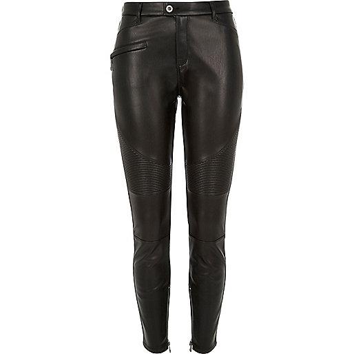 Black leather look biker pants