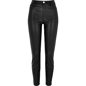 Black leather look super skinny trousers