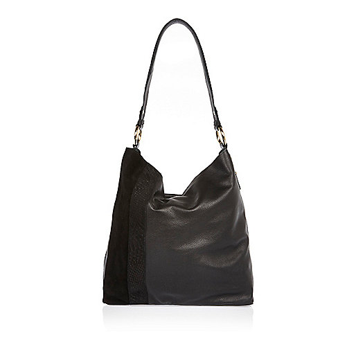 Black leather bag and satin purse