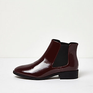 Dark red patent Chelsea boots
