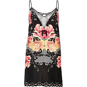Schwarzes Kleid mit Blumenmuster und Spitze
