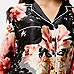 Chemise de pyjama noir à fleurs