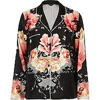 Black floral print pajama shirt