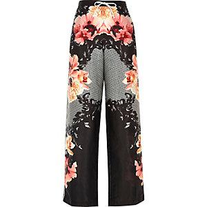 Black floral print palazzo pajama trouers