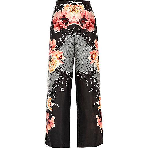 Black floral print palazzo pyjama trouers