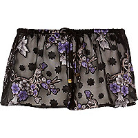 Black sheer jacquard print pyjama shorts