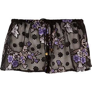 Black sheer jacquard print pyjama shorts