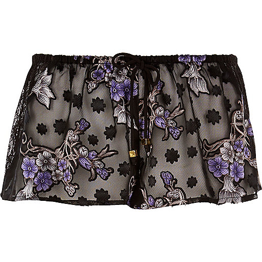 Black sheer jacquard print pajama shorts