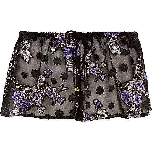 Short de pyjama imprimé jacquard transparent noir