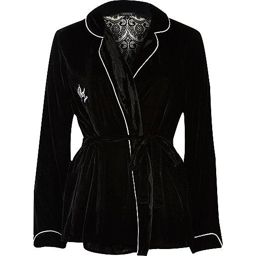 Black velvet wrap pyjama shirt