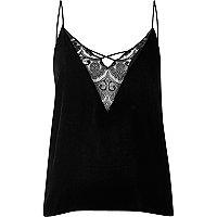 Black velvet lace cami pyjama top