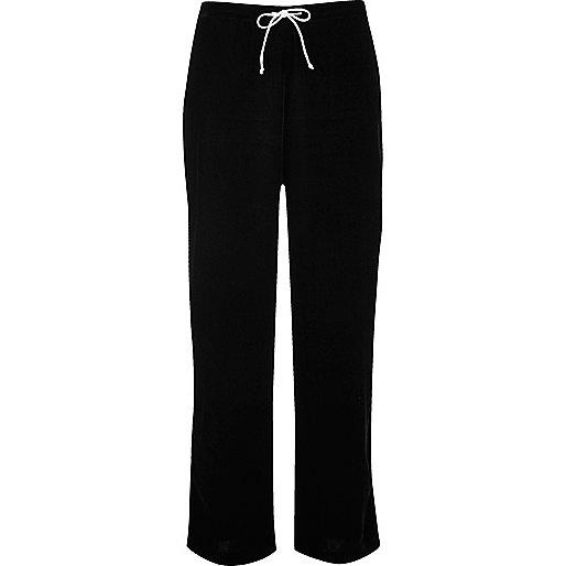 Black velvet pyjama trousers