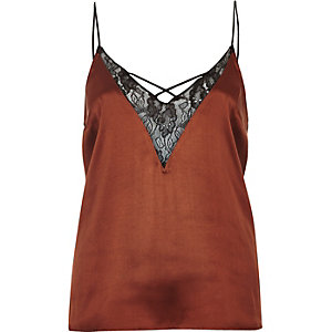 Rust lace front cami