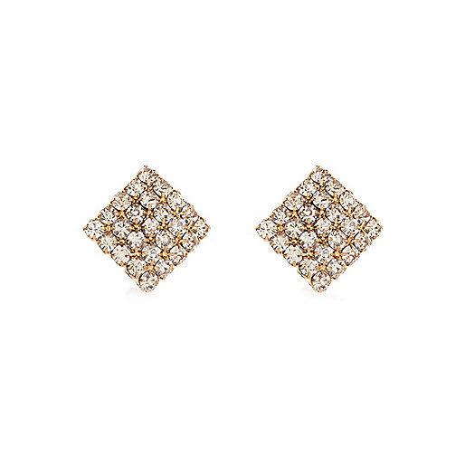 Gold tone diamanté square stud earrings